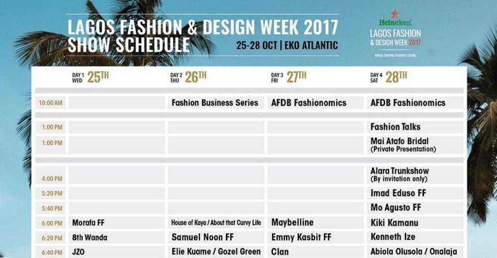 Lfdw17 lagos fashion and design week 2017 show schedule for Design week 2017